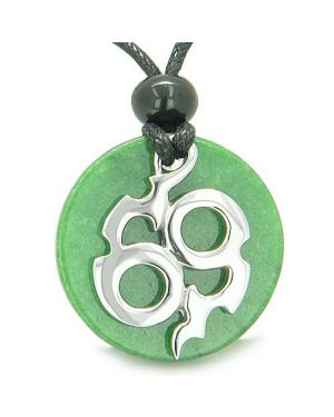 Amulet Infinity Symbol Magic Fire Energy MedalliJade Good Luck Powers Pendant Necklace