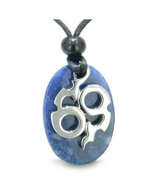 Amulet Infinity Symbol Magic Fire Energy Lucky Charm Sodalite Good Luck Powers Pendant Necklace