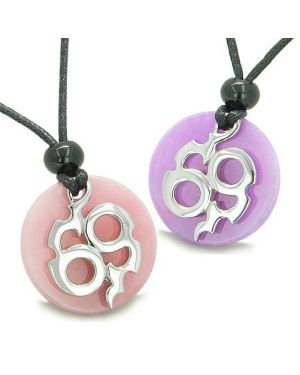 Amulets Infinity Best Friends Love Couple Magic Fire Medallions Pink Purple Jade Charms Necklaces