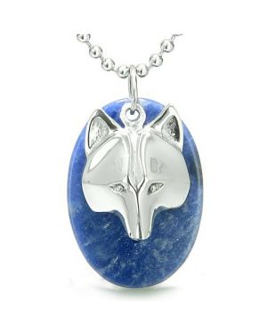 Amulet ProtectiWise Wolf Mask Good Luck Powers Sodalite Gemstone Charm Pendant Necklace