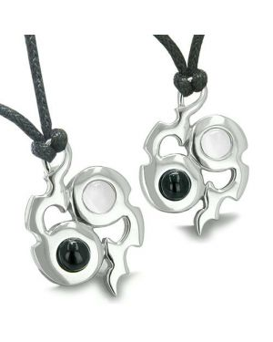 Amulet Yin Yang Infinity Symbol Magic Fire Energy Onyx White Cats Eye Lucky Charm Pendant Necklace