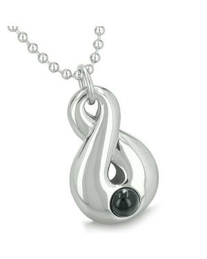 Amulet Infinity Magic Symbol Eternity Powers Black Onyx Spiritual Positive Energy Pendant Necklace
