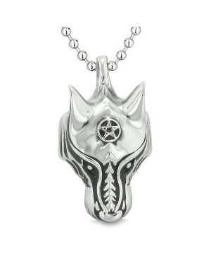 Courage Wise Wolf Celtic Energy Good Luck Charm Amulet Magical Pentacle Powers Pendant Necklace