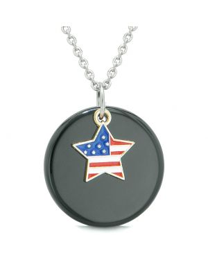 Proud American Flag Spirit Super Star Lucky Charm Black Agate Spiritual Amulet 22 Inch Necklace