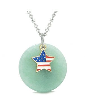 Proud American Flag Spirit Super Star Lucky Charm Green Quartz Spiritual Amulet 22 Inch Necklace