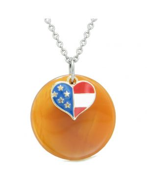 Proud American Flag Spirit Super Heart Lucky Charm Carnelian Spiritual Amulet 22 Inch Necklace