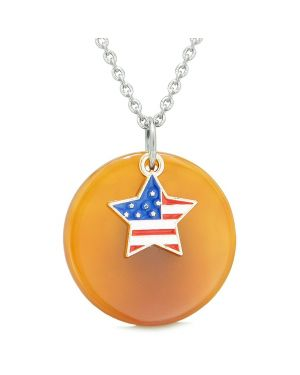 Proud American Flag Spirit Super Star Lucky Charm Carnelian Spiritual Amulet 18 Inch Necklace