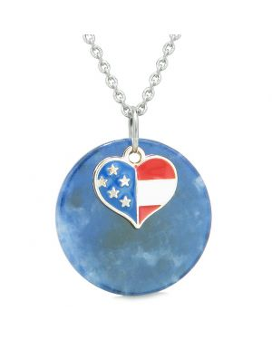 Proud American Flag Spirit Super Heart Lucky Charm Sodalite Spiritual Amulet 22 Inch Necklace