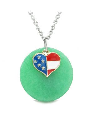Proud American Flag Spirit Super Heart Lucky Charm Deep Green Quartz Spiritual Amulet 22 Inch Necklace