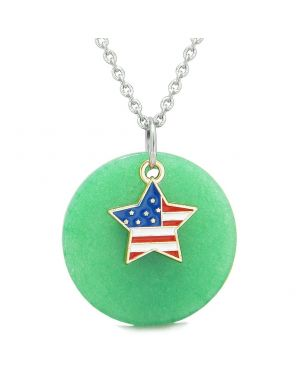 Proud American Flag Spirit Super Star Lucky Charm Deep Green Quartz Spiritual Amulet 22 Inch Necklace
