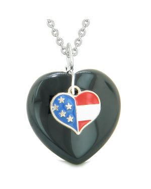 Proud USA Flag Spirit Puffy Heart Protection Amulet American Charm Black Agate 22 Inch Necklace