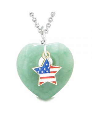 Proud USA Flag Spirit Puffy Heart Protection Amulet American Star Charm Green Quartz 18 Inch Necklace