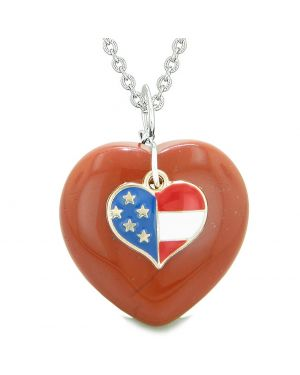 Proud USA Flag Spirit Puffy Heart Protection Amulet American Charm Red Jasper 18 Inch Necklace