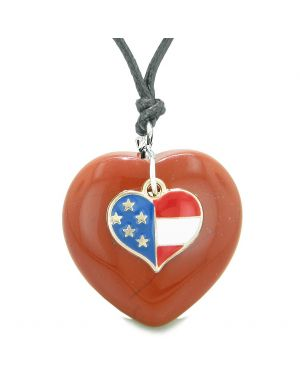 Proud USA Flag Spirit Puffy Heart Protection Amulet American Charm Red Jasper Adjustable Necklace