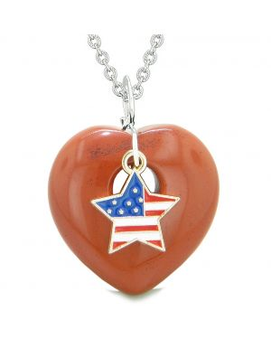 Proud USA Flag Spirit Puffy Heart Protection Amulet American Star Charm Red Jasper 22 Inch Necklace