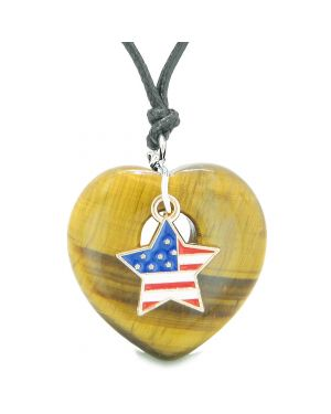 Proud USA Flag Spirit Puffy Heart Protection Amulet American Star Charm Tiger Eye Adjustable Necklace