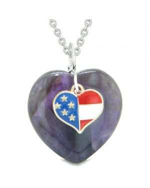 Proud USA Flag Spirit Puffy Heart Protection Amulet American Charm Purple Quartz 18 Inch Necklace