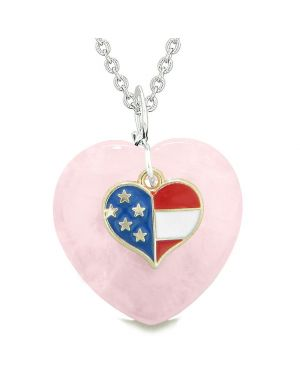 Proud USA Flag Spirit Puffy Heart Protection Amulet American Charm Rose Quartz 22 Inch Necklace