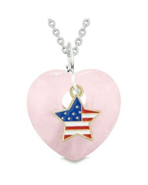Proud USA Flag Spirit Puffy Heart Protection Amulet American Star Charm Rose Quartz 18 Inch Necklace