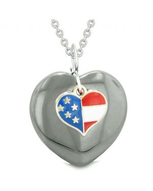 Proud USA Flag Spirit Puffy Heart Protection Amulet American Charm Hematite 22 Inch Necklace