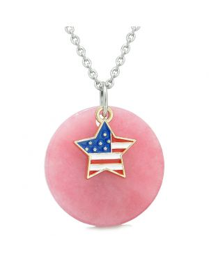 Proud American Flag Spirit Super Star Lucky Charm Pink Quartz Spiritual Amulet 18 Inch Necklace