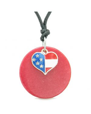 Proud American Flag Spirit Super Heart Lucky Charm Red Quartz Spiritual Amulet Adjustable Necklace