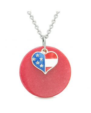 Proud American Flag Spirit Super Heart Lucky Charm Red Quartz Spiritual Amulet 22 Inch Necklace