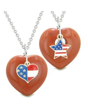 Proud USA Flag Super Heart and Star Love Couples or BFF Set Red Jasper Protection Amulet Necklaces