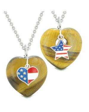 Proud USA Flag Super Heart and Star Love Couples or BFF Set Tiger Eye Protection Amulet Necklaces