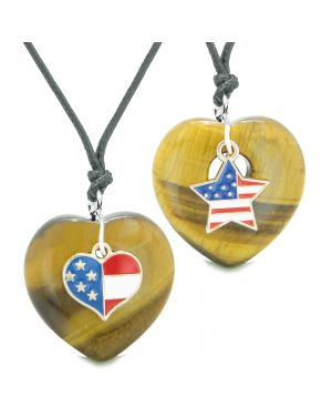 Proud USA Flag Super Heart and Star Love Couples or BFF Set Tiger Eye Protection Amulet Cord Necklaces
