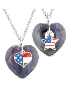 Proud USA Flag Super Heart and Star Love Couples or BFF Set Purple Quartz Protection Amulet Necklaces