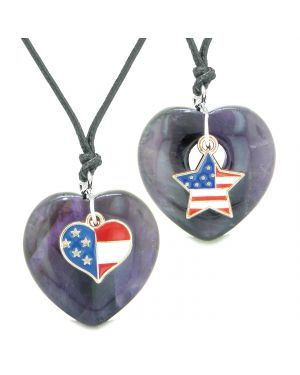 Proud USA Flag Super Heart and Star Love Couples BFF Set Purple Quartz Protection Amulet Cord Necklaces