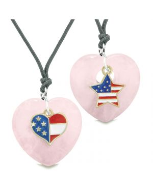 Proud USA Flag Super Heart and Star Love Couples or BFF Set Rose Quartz Protection Amulet Cord Necklaces