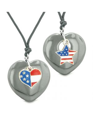 Proud USA Flag Super Heart and Star Love Couples or BFF Set Hematite Protection Amulet Cord Necklaces