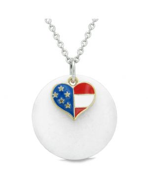 Proud American Flag Spirit Super Heart Lucky Charm White Quartz Spiritual Amulet 22 Inch Necklace