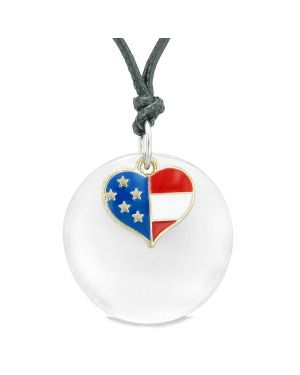 Proud American Flag Spirit Super Heart Charm White Simulated Cat Eye Spiritual Amulet Adjustable Necklace