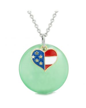 Proud American Flag Spirit Super Heart Charm Green Simulated Cats Eye Spiritual Amulet 18 Inch Necklace