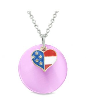 Proud American Flag Spirit Super Heart Charm Pink Simulated Cats Eye Spiritual Amulet 18 Inch Necklace