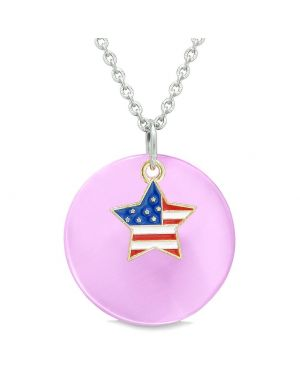 Proud American Flag Spirit Super Star Charm Pink Simulated Cats Eye Spiritual Amulet 18 Inch Necklace
