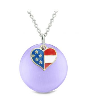 Proud American Flag Spirit Super Heart Charm Purple Simulated Cats Eye Spiritual Amulet 22 Inch Necklace