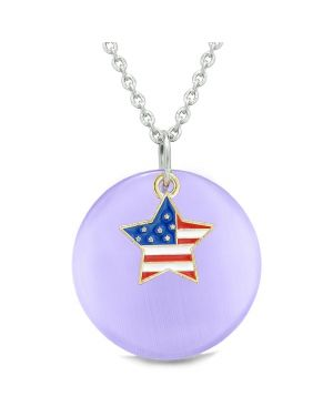Proud American Flag Spirit Super Star Charm Purple Simulated Cats Eye Spiritual Amulet 22 Inch Necklace