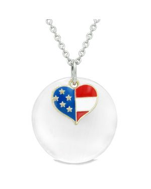 Proud American Flag Spirit Super Heart Charm White Simulated Cats Eye Spiritual Amulet 22 Inch Necklace