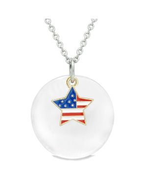 Proud American Flag Spirit Super Star Charm White Simulated Cats Eye Spiritual Amulet 22 Inch Necklace