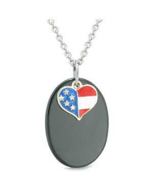 Proud American Flag Spirit Cute Super Heart Lucky Charm Black Agate Spiritual Amulet 22 Inch Necklace