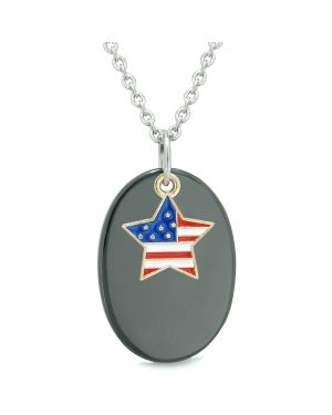 Proud American Flag Spirit Cute Super Star Lucky Charm Black Agate Spiritual Amulet 18 Inch Necklace
