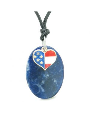 Proud American Flag Spirit Cute Super Heart Lucky Charm Sodalite Spiritual Amulet Adjustable Necklace