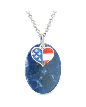 Proud American Flag Spirit Cute Super Heart Lucky Charm Sodalite Spiritual Amulet 22 Inch Necklace