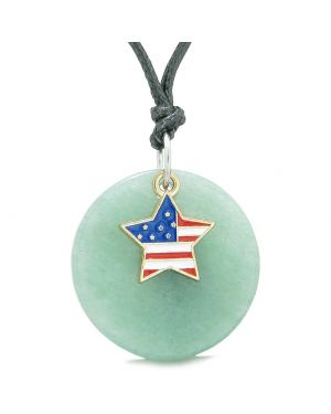 Proud American Flag Spirit Super Star Lucky Charm Green Quartz Spiritual Amulet Adjustable Necklace