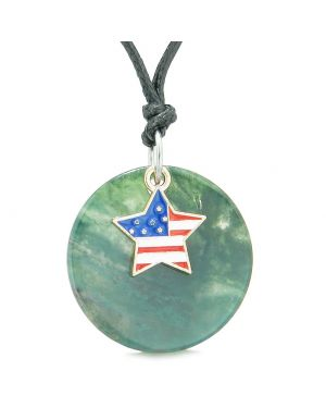 Proud American Flag Spirit Super Star Lucky Charm Green Agate Spiritual Amulet Adjustable Necklace