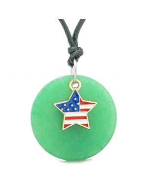 Proud American Flag Spirit Super Star Lucky Charm Deep Green Quartz Spiritual Amulet Adjustable Necklace